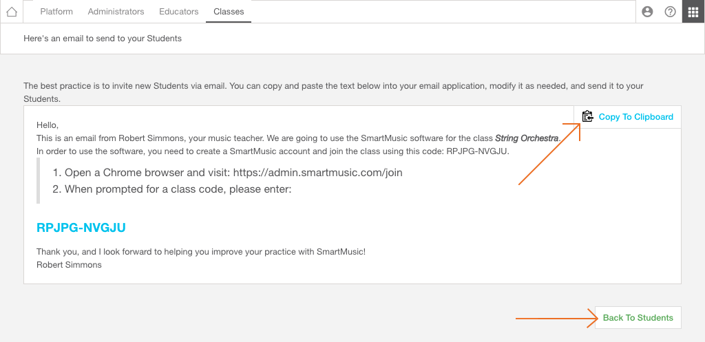 Adding Students to your class – SmartMusic